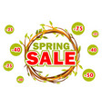 wreath of twigs with the word sale spring vector image vector image