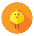 Yellow Chick Circle Icon with long Shadow vector image
