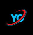 yo y o letter logo design initial letter yo vector image vector image