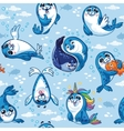 Seamless pattern with cute baby seal cartoon vector image