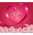 Happy Mothers Day Lettering with Pink Ribbon vector image
