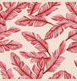 abstract seamless composition red banana leaves vector image vector image