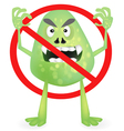 Anti virus sign with three different colored virus vector image