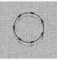 barbed wire circle on grey brick background vector image vector image