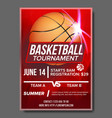 basketball poster tournament banner vector image vector image