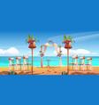 Beach wedding arch and decoration on seaside