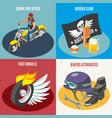 bikers isometric design concept vector image vector image