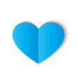 blue paper heart isolated on white background vector image vector image