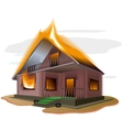 Brick house burns Cottage fire Vacation home vector image vector image
