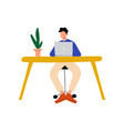 businessman or office worker sitting at desk and vector image vector image