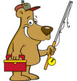cartoon bear holding a fishing rod vector image vector image