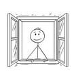 cartoon of man looking through open window vector image