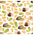 cartoon style nuts seamless pattern - healthy food vector image vector image