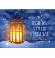christmas greeting card with vintage lantern vector image vector image