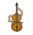 double bass plays on itself sketch engraving vector image vector image