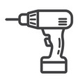 electric drill line icon build and repair vector image vector image