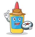 explorer glue bottle character cartoon vector image