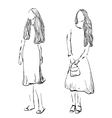 Fashion girl sketch Hand drawn model vector image vector image