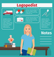 female logopedist and medical equipment icons vector image