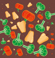 fresh paprika with pumpkin and broccoli pattern vector image vector image