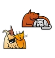 Friendship of dog and cat vector image vector image