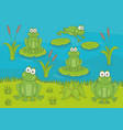frogs in pond vector image