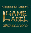 game label typeface golden font isolated english vector image vector image