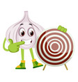 garlic with target on white background vector image vector image