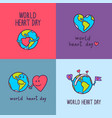global heart day banner set hand drawn style vector image vector image