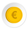 gold coin with euro sign icon circle vector image vector image