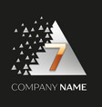 golden number seven logo in silver pixel triangle vector image