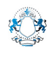 graphic emblem with lion heraldic animal element
