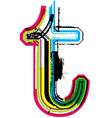 Grunge colorful font Letter t vector image vector image