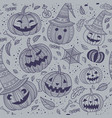 halloween seamless pattern with cute pumpkins vector image