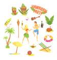hawaiian party set hawaii symbols vector image vector image