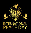 international peace day gold emblem vector image vector image