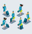 isometry set female stewardesses in beautiful vector image vector image