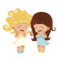 kawaii girls vector image