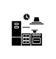 kitchen black icon sign on isolated vector image vector image