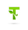 Letter T eco leaves logo icon design template vector image vector image