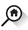 magnifying glass with Home icon vector image vector image