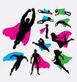Male and female superhero silhouettes vector image vector image