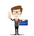 man holding plastic credit card and shows a sign vector image vector image