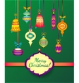 Merry Christmas Glass Balls on Green Background vector image vector image