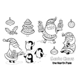 outline set with santa claus vector image vector image