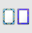 photo frames with blue border and abstract figures vector image vector image