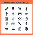 photo icons set with remove red eye flare vector image vector image