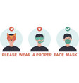 please wear a face mask avoid covid-19 vector image