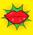 red lips in pop art vector image vector image