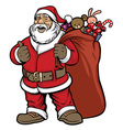 santa claus bring a bag full of gift vector image vector image